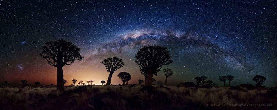 Imagen de la Vía Láctea -camino de leche- (derivación latina del griego «Kyklós galaktikós»= «círculo de leche»). En ella se contienen en torno a doscientos mil millones de estrellas.
